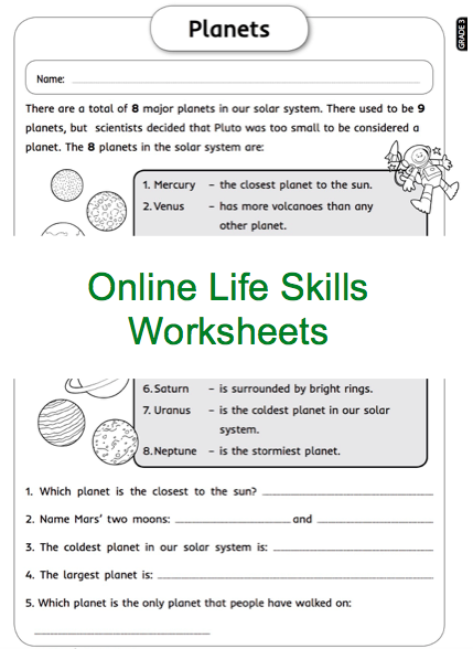 Grade 3 Online Life Skills Worksheets Planets Space For