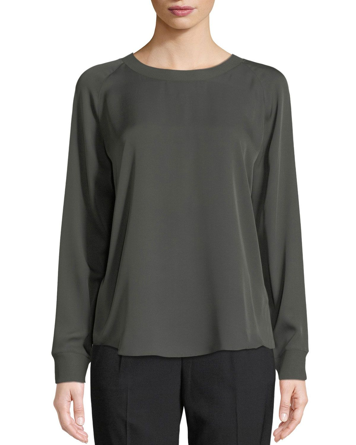 8f4ce0adfd82be VINCE Rib-Trimmed Long-Sleeve Silk Blouse in Green