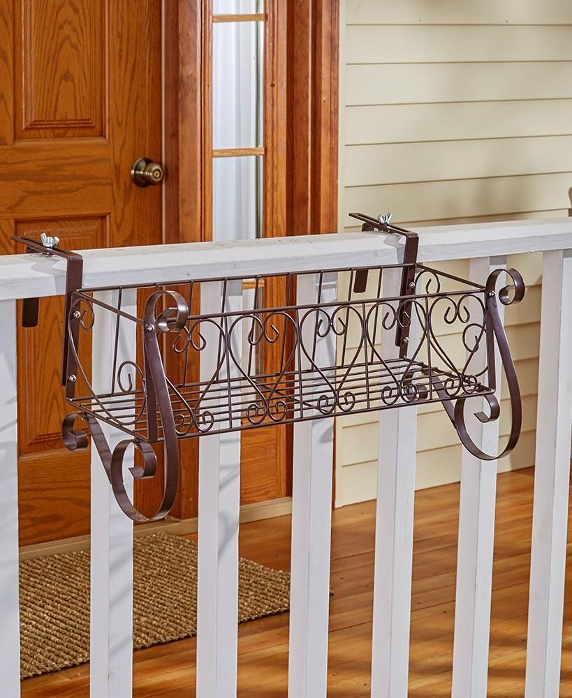 Decorative Metal Heart Scrolled Rail Or Fence Planter
