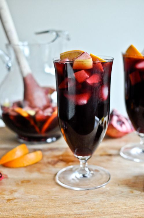 Pomegranate Vanilla Sangria  1 large navel orange, sliced  1 large apple, chopped  1 large pear, chopped  the arils of 1 pomegranate  2 cinnamon sticks  2 vanilla beans  1 1/2 bottles of red wine  2 cups sparkling pomegranate soda  1/2 cup brandy  1/2 cup sugar  1 tablespoon vanilla extract  Add fruits to the bottom of a big pitcher. Pour wine, pom soda, sugar, & vanilla extract over top. Scrape vanilla beans out of pods and add to mix. Throw entire empty vanilla beans in. Mix.