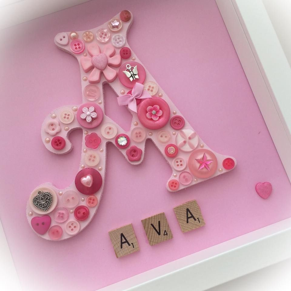 Personalised Button Letter Frame – Tiled Letters Underneath 25cm X ...