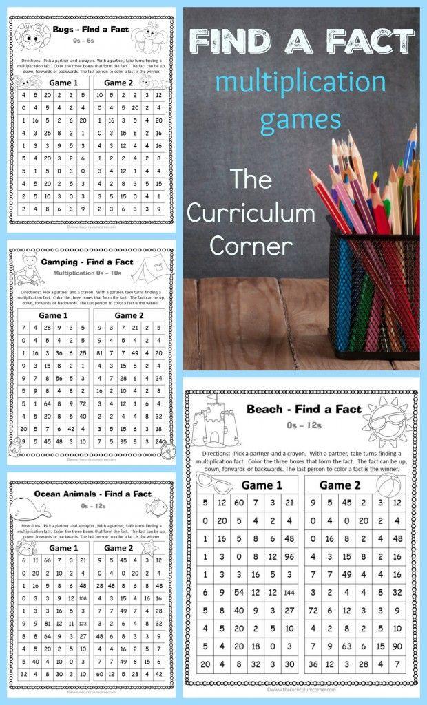 Find a Fact Multiplication Games | Multiplikation, Mathematik und Mathe