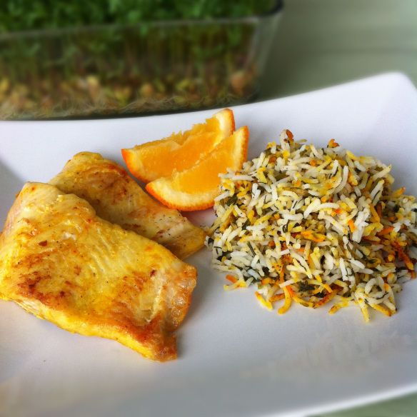 Sabzi Polo va Mahi (Herbed Persian Rice and Pan-fried White Fish) | thepomegranatediaries