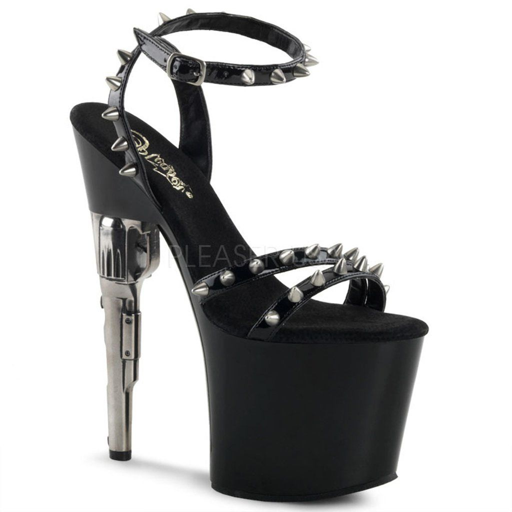 Womens Flat Black Sandals Platform Shoes Ankle Strap 7 Inch Heels Spike