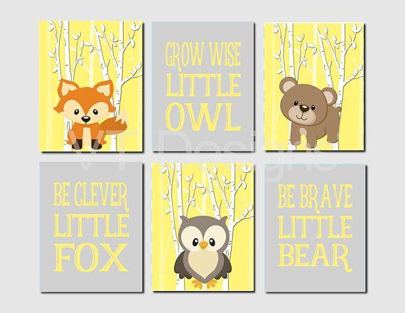 Woodland Nursery Art, Neutral, Bear, Owl, Fox, Yellow Gray, Boy ...