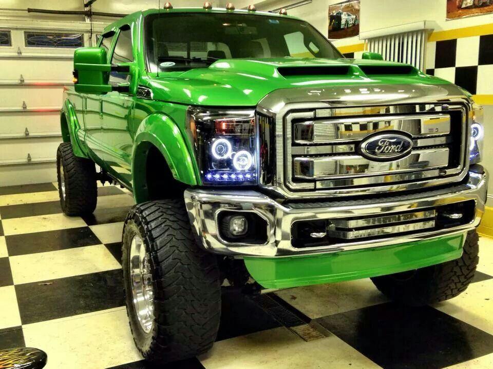 Awsome Green Jacked Up Trucks Lifted Ford Trucks Trucks