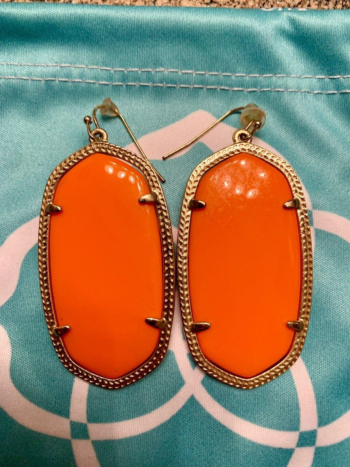 Kendra scott danielle gold drop earrings in orange very