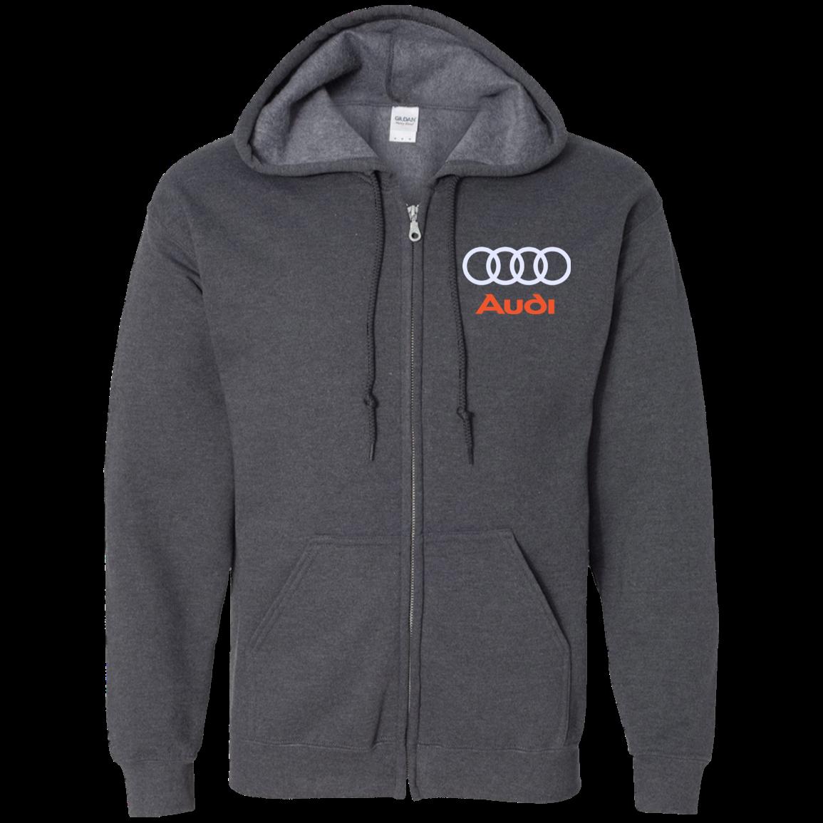 Audi Embroidered Zip Up Hooded Sweatshirt | Hooded