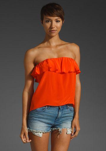 64be7527cd5 AMANDA UPRICHARD Ruffle Crop Tube Top in Orange at Revolve Clothing - Free  Shipping!