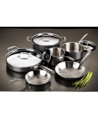 All Clad 10 Pc Hard Anodized Stainless Steel Cookware Set Black