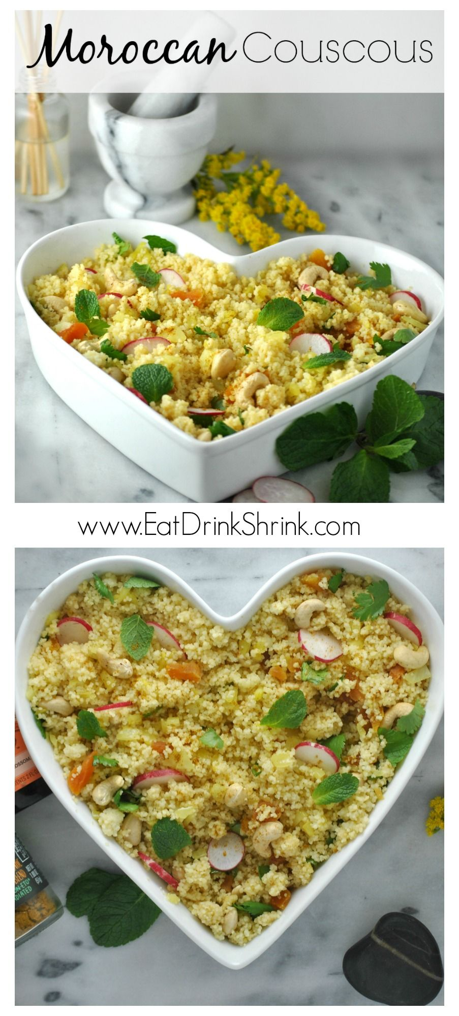 Vegan Moroccan Cous Cous with Rose Water, cashews and Mint