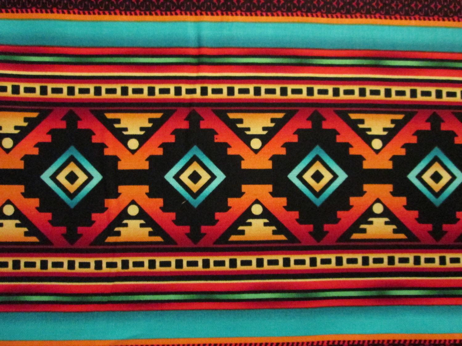 Navajo Teal Border Traditional Native American Print Cotton Fabric 299 Via Etsy  N