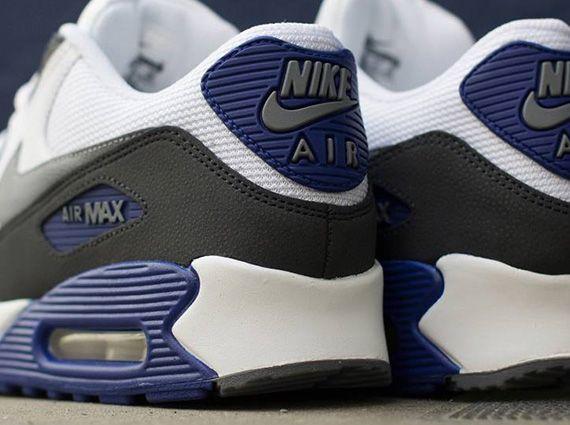 b82851cc51b957 Nike Air Max 90 Essential - White - Classic Grey - Deep Royal Blue ...