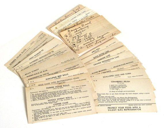 Recette antique cartes 3 x 5 fiches & recettes manuscrites