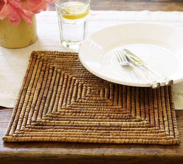 Paros Rattan Square Charger Plate Square Placemats Wood Placemats Charger Plates Diy
