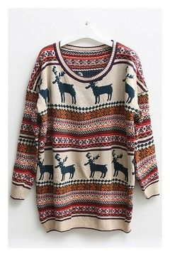 OASAP - Nordic Print Oversized Knitted Jumper - Street Fashion ...