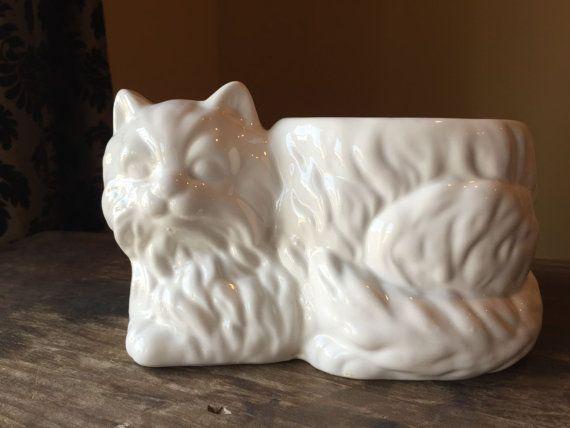 intage Cat Planter Small White Ceramic Persian by StylishPiggy