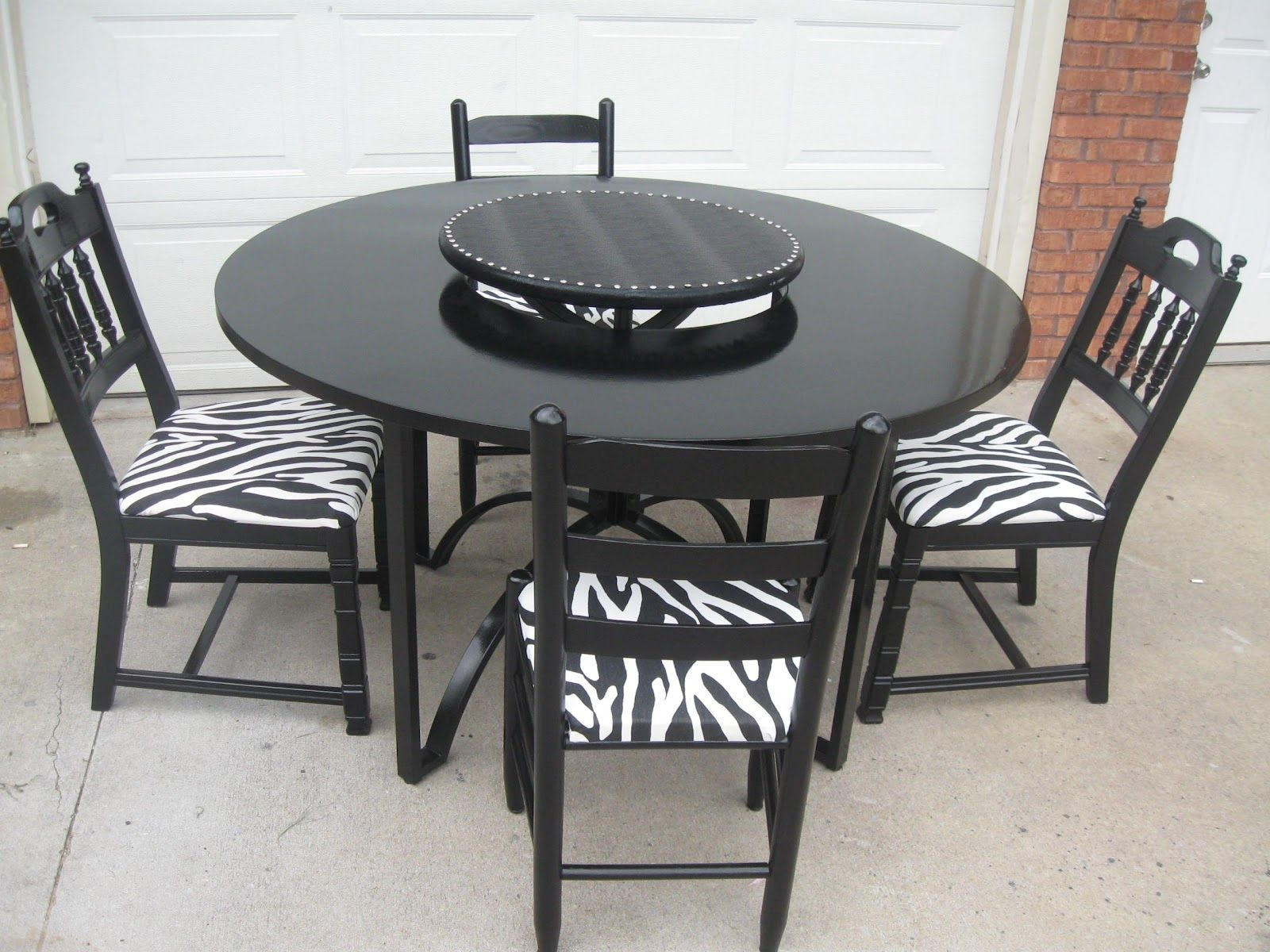 Small Table Set With Zebra Print Dining Room Chairs Patterned