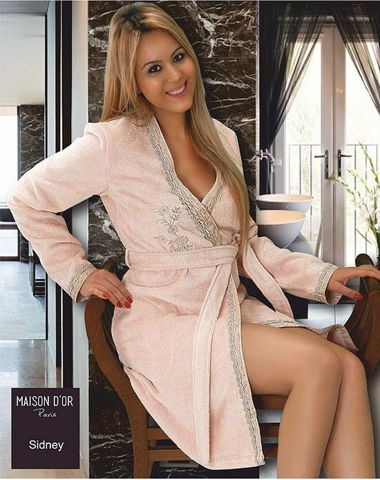 864d3f0d7f360 Халат махровый с вышивкой Maison Dor Sidney Грязно-розовый в Украине —Халаты.  Купить