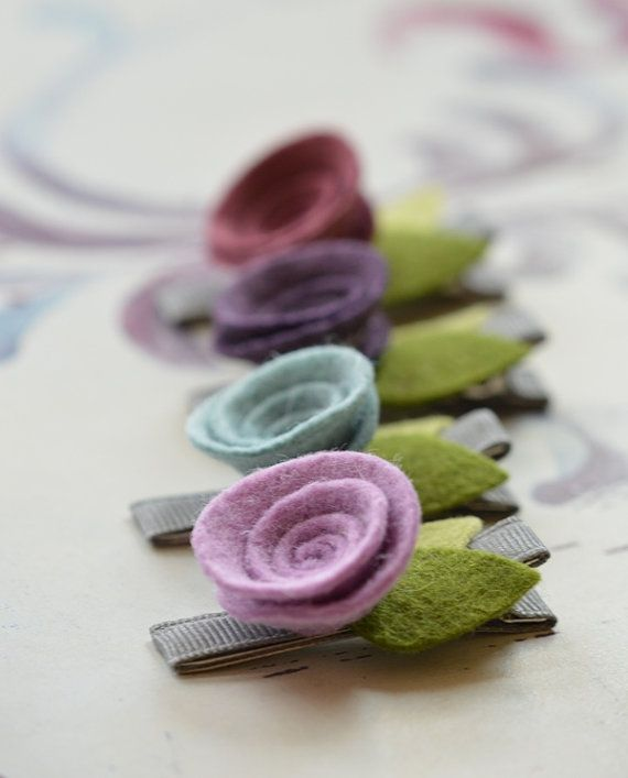 Felt Swirl Rose Flower Clips in Plum Heather Orchid and por bloomz