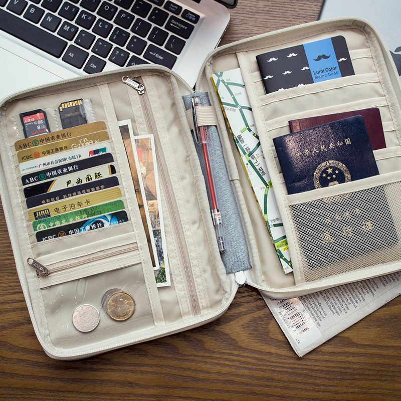 3 Colors Fashion Travel Set ID Passport Holder Credit Card Organizer Bag Women Long  L S Size Travel Wallet