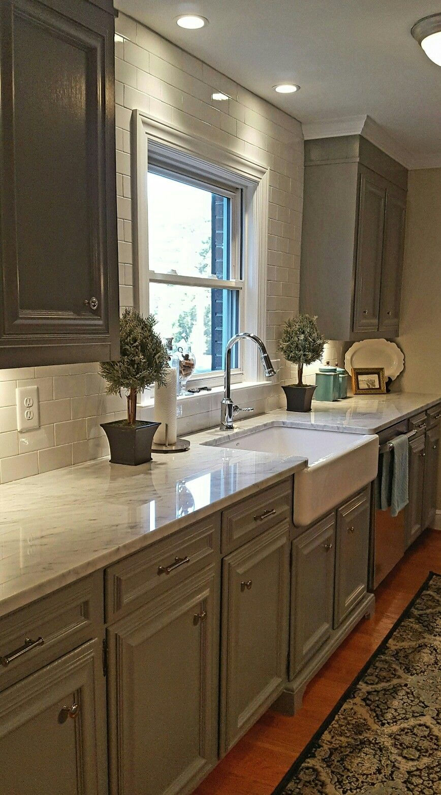 Kitchen Update Added Trim To Existing Cabinets And Repainted Chelsea Gray By B Trendy Farmhouse Kitchen Tile Countertops Kitchen Farmhouse Kitchen Countertops
