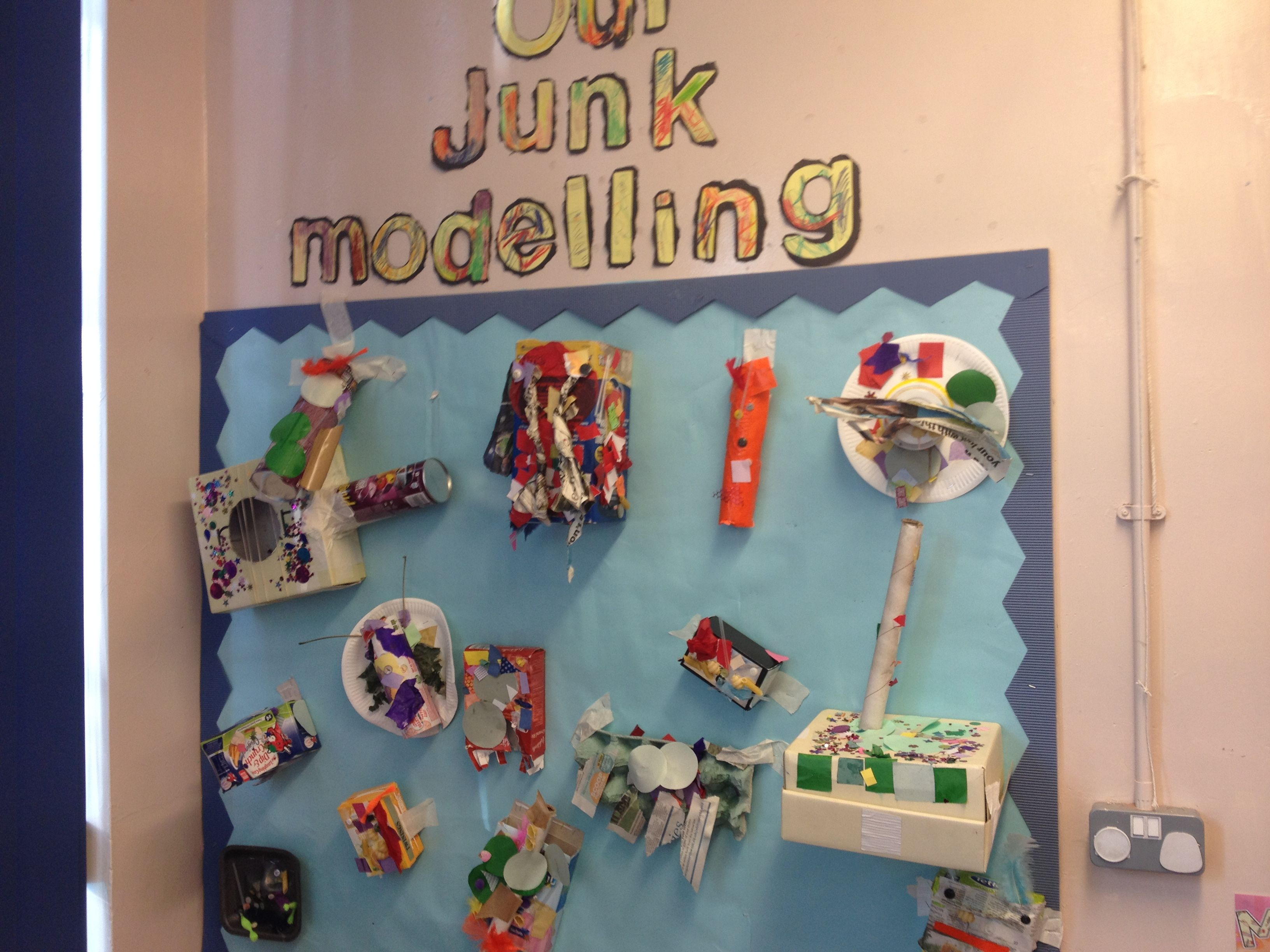 junk modelling eyfs displays board display discover
