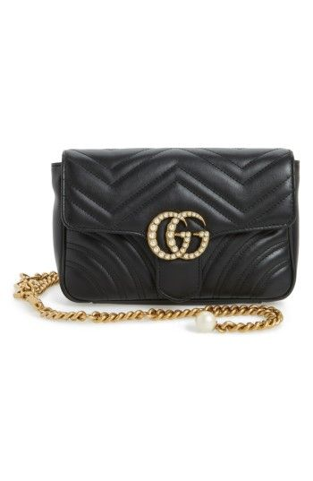 GUCCI MARMONT 2.0 IMITATION PEARL LOGO QUILTED LEATHER BELT BAG.  gucci   4ed628f7d8a48