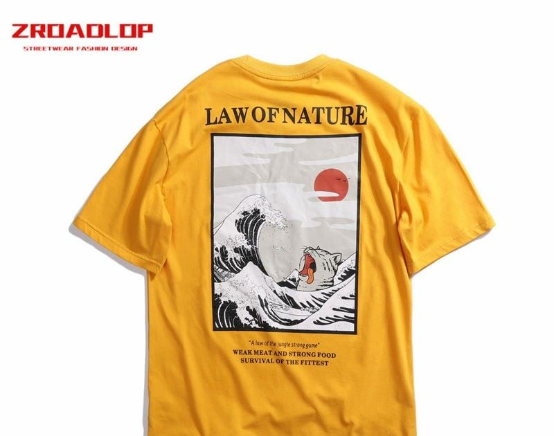 35c06d2f719 ... Shirt by fashion designer. On Sale 2019 Unisex Japanese Embroidery Funny  Cat Wave Printed T-shirts Cotton Japan Style