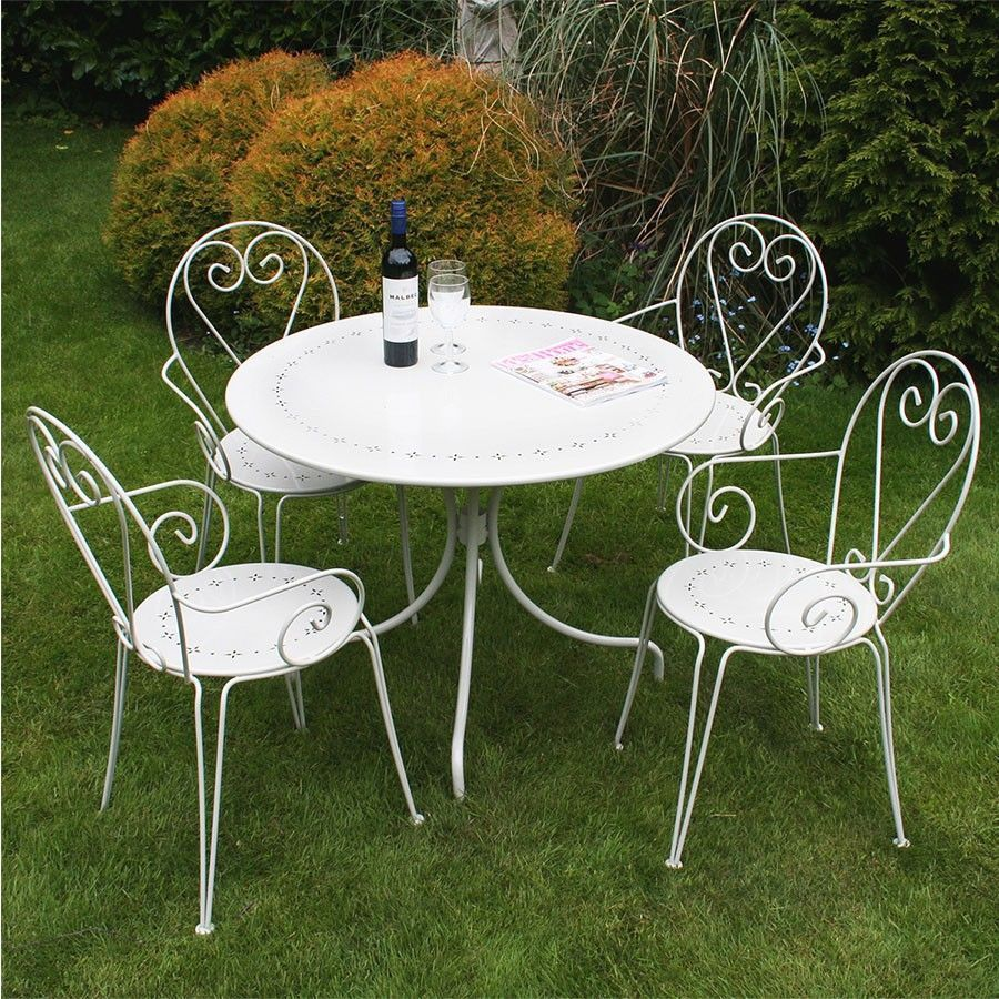 4 Seater Bistro Set Steel Heart Cream Table Chairs Garden Lawn