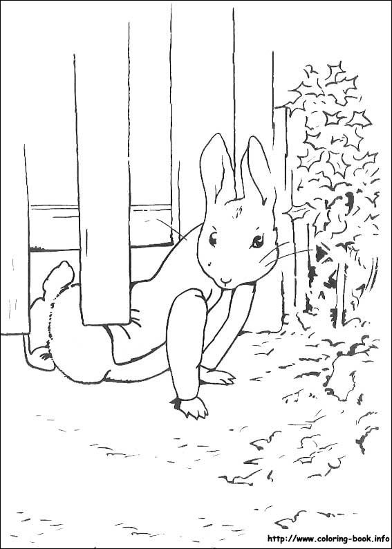 Peter Rabbit Coloring Picture Water Color And Glue To Newspaper X