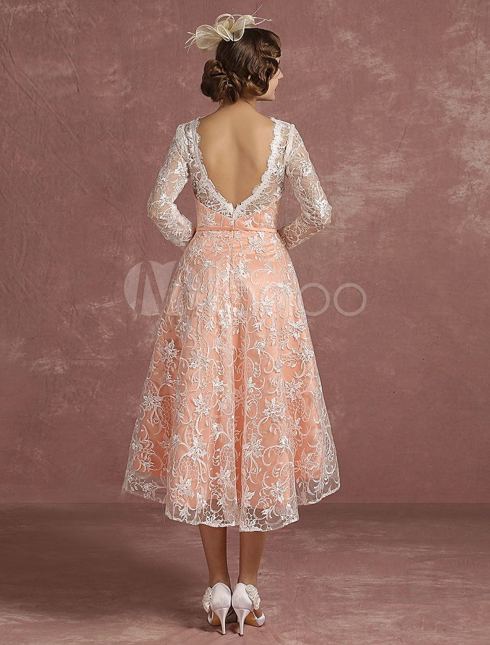a204f48c661 Lace Wedding Dress Pink High Low Vintage Bridal Gown Illusion Long Sleeve A Line  V Back