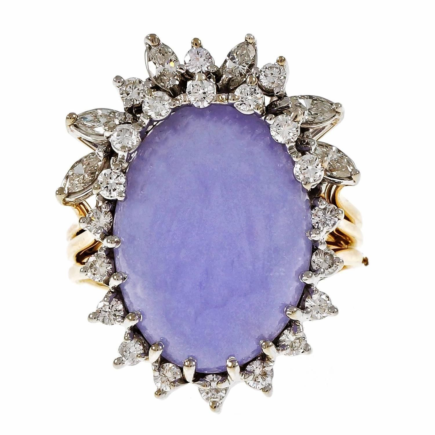 Purple Lavender Jadeite Jade Diamond Gold Cocktail Ring   See more rare vintage Cocktail Rings at https://www.1stdibs.com/jewelry/rings/cocktail-rings