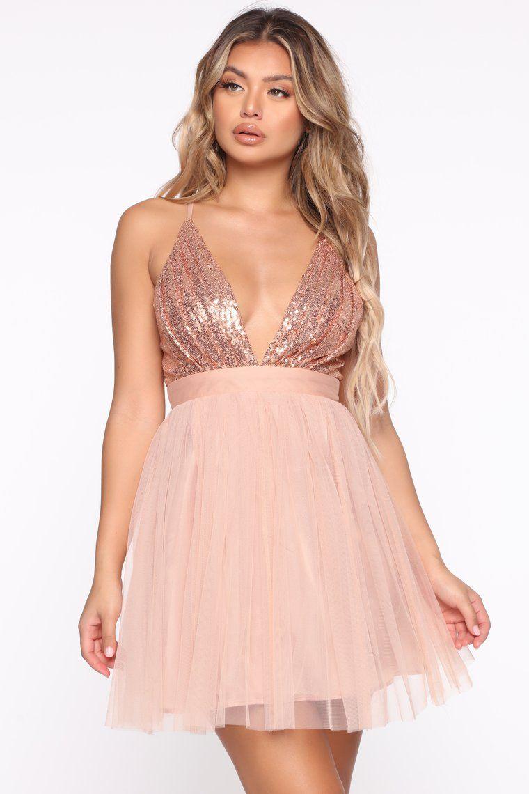 Shine On Me Mini Flare Dress Rose Gold Flare Dress Dresses Black Party Dresses [ 1140 x 760 Pixel ]