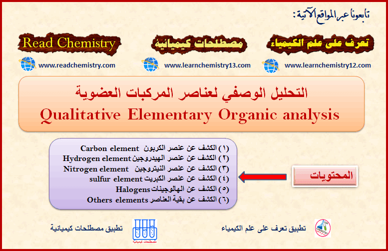 التحليل الوصفي لعناصر المركبات العضوية Qualitative Elementary Organic Analysis Elementary Hydrogen Element Chemistry