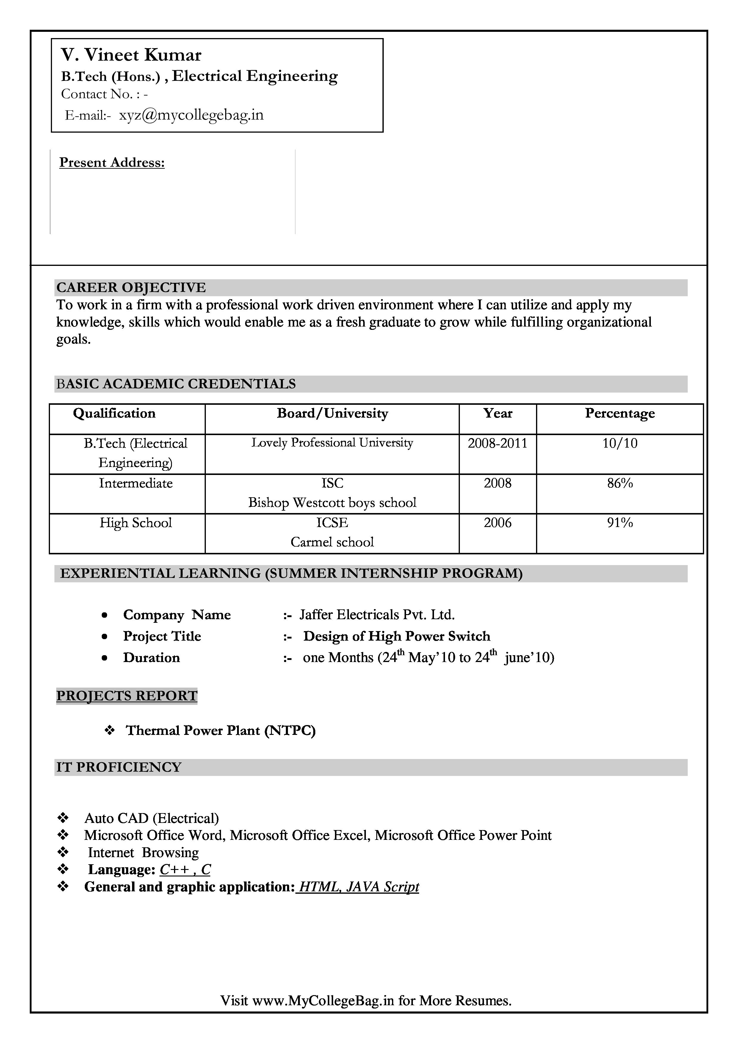 Engineering Fresher Resume Format Download In Ms Word Best