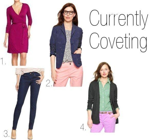 currently coveting | chicon10thstreet.wordpress.com Gap polka dot blazer, purple wrap dress, skinny jeans, gray cardigan