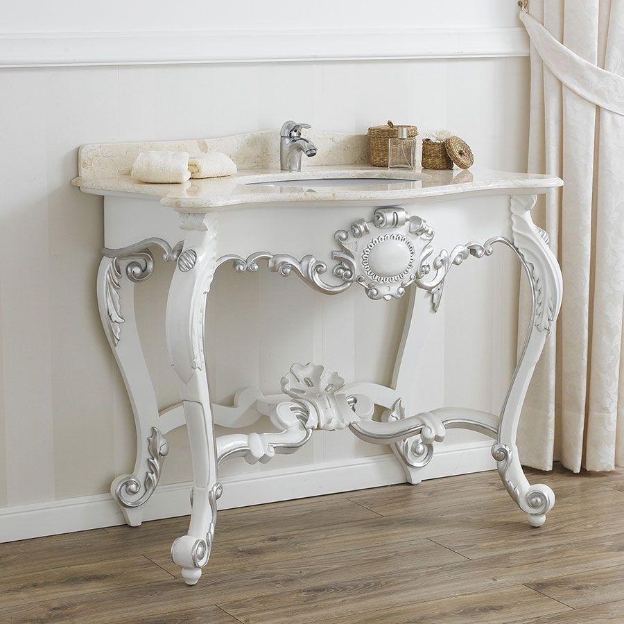 Consolle bianco lucido con riporti in foglia argento | Arredo Bagno ...