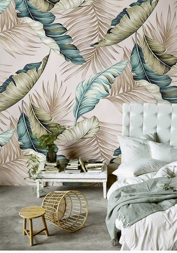 Hand Painted Banana Leaves Wallpaper Big Leaves Wall Mural Wall Art Living And Dinning Room Wall Decal Wall Sticke Decor Home Decor Banana Leaf Wallpaper