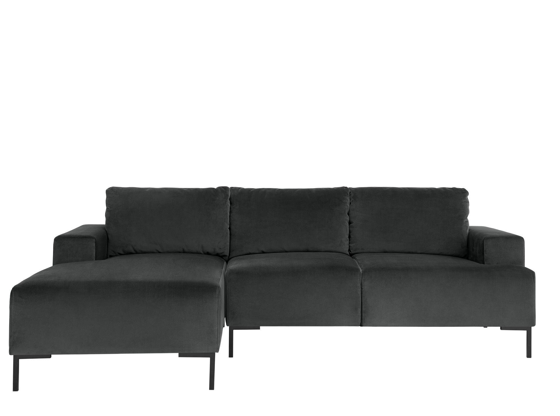 Frederik 3 Seater Left Hand Facing Compact Corner Chaise End Sofa Midnight Grey Velvet Corner Sofa Sofa Design How To Make Corner Sofa
