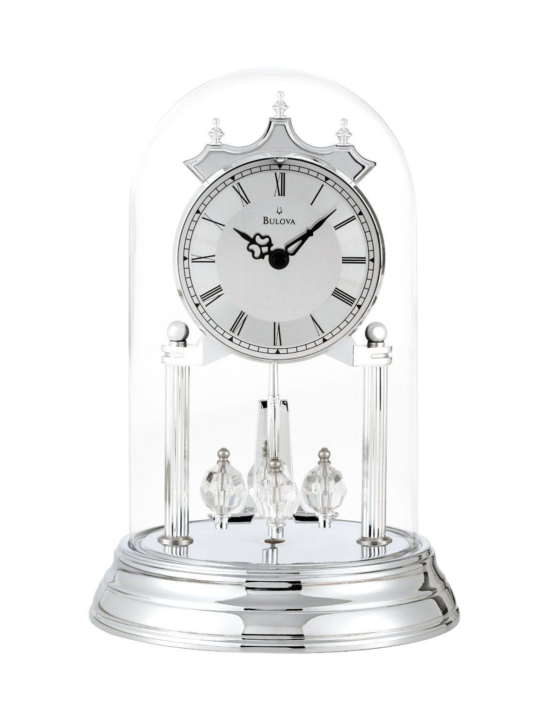 Bulova Tristan Ii Silver Anniversary Clock Chrome Finish Polished Metal Dial With Spun Chapter