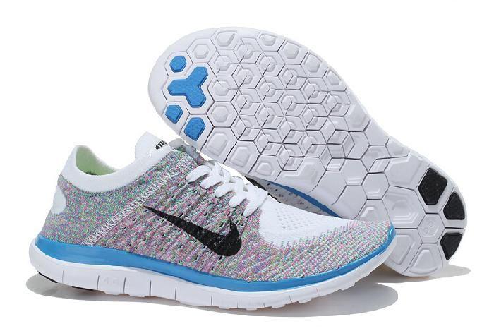Die Neueste Nike Free 4.0 Flyknit Laufend Schuhe Für Frauen/damen Blau Weiß  Grau,