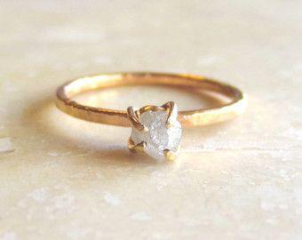Reserved Raw Diamond Engagement Ring Rough Uncut 14k Rose Gold Wedding Grey Set Stacking Ringbyangeline