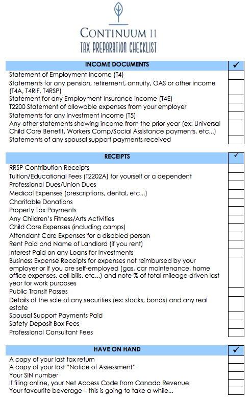 Handy Canadian Income Tax Preparation Checklist Taxreturns