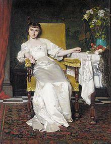 """""""A Lady with Rose"""". 1879. Władysław Czachórski (22 September 1850, Lublin – 13 January 1911, Munich). Polish painter in the Academic style."""