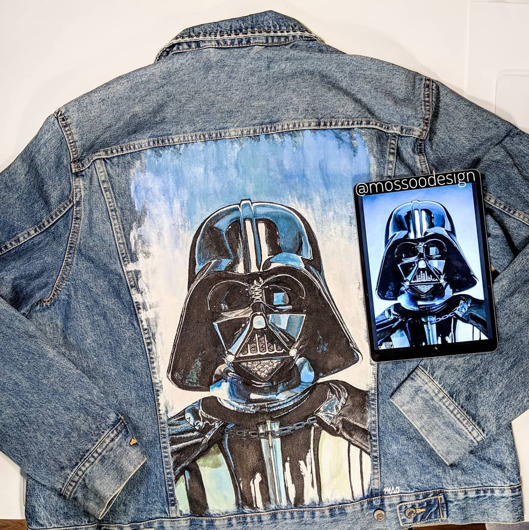 Darth Vader Jacket By Mossoo Mossoodesign New Territory Vader Territory Darthvaderjacket Hand Painted Denim Jacket Diy Denim Jacket Painted Jacket [ 1081 x 1080 Pixel ]