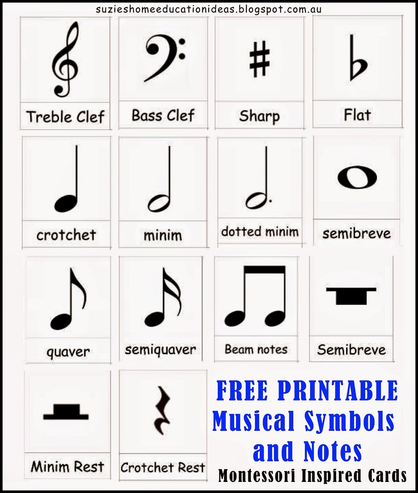 Introducing musical symbols and notes symbols free printable suzies home education ideas introducing musical symbols and notes buycottarizona Images