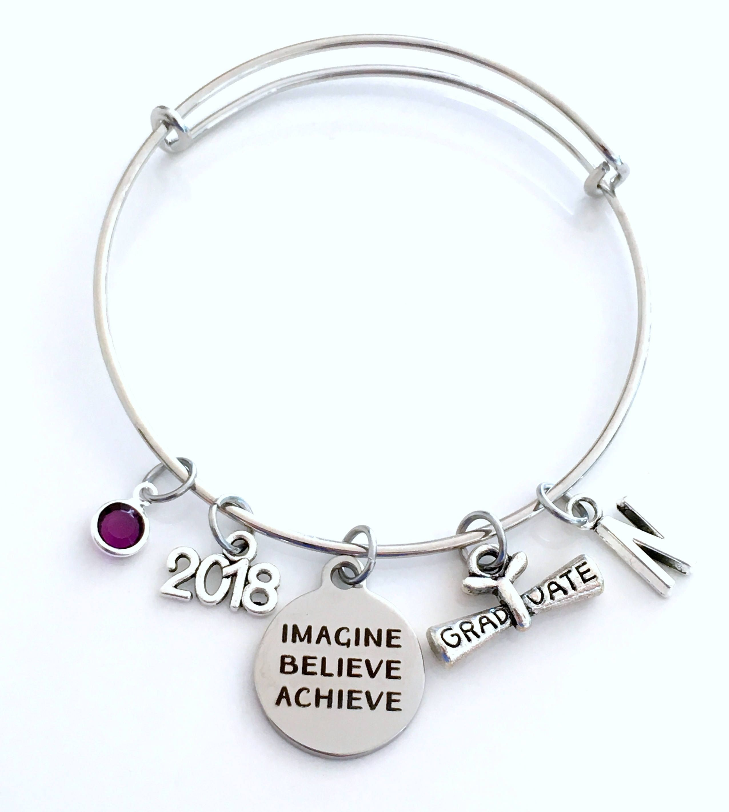 Graduation Gift For Her Bracelet Imagine Believe Achieve Jewelry
