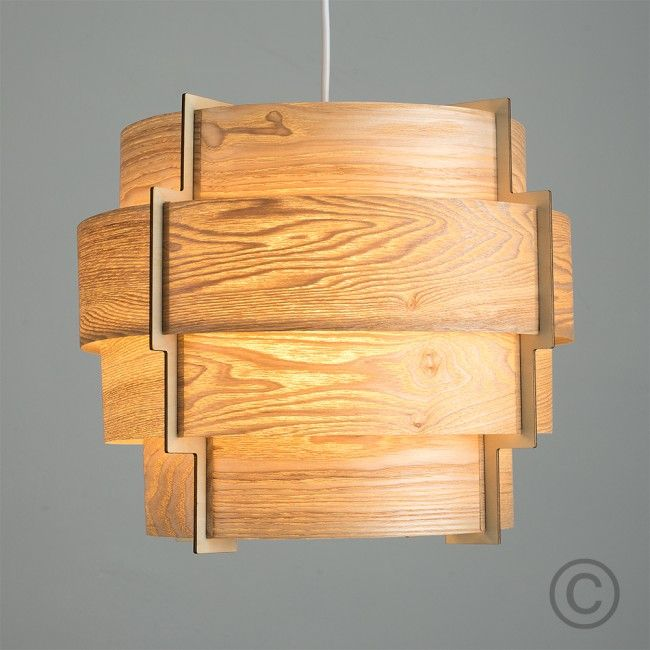 Retro Tiered Drum Pendant Shade In Wood Veneer Finish Light On