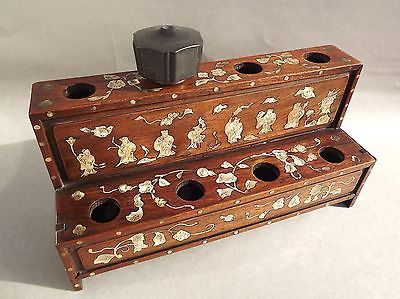 Chinese Shell Inlaid Hardwood Stand For Opium Pipe Bowls
